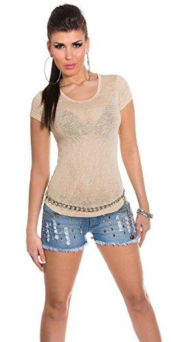 Fashion By Miss Fusion - Camisas - Cuello redondo - para mujer Beige
