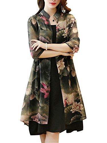 Honwenle Women Elegant Foral Printed Two-Piece Chiffion Dress with - Jacket Elegant Dress