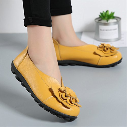Casual Flat Handmade Slip Leather Shoes Loafers Decoration Soft Outdoor Yellow Flower Women's Lazy Socofy On UxZwUp