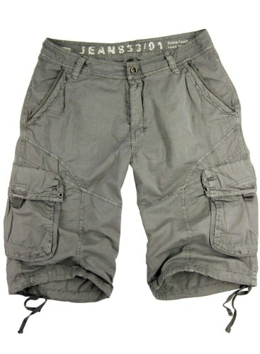 Military Style Short - STONE TOUCH Mens Military-Style Light Grey Cargo Shorts #27s Size 36