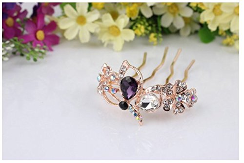 - Fashion The South Korea's new temperament fashion alloy set auger dish hair combs butterfly Han edition hairpin bride headdress(3pcs,Random style)