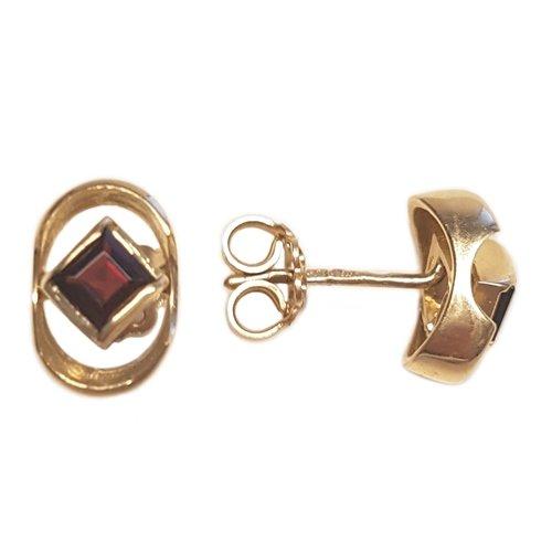 Clearance Boucles d'Oreilles Femme en Or 14 carats Jaune avec Grenat, 3.3 Grammes