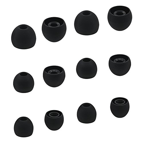 ALXCD Eartips for Sony In-Ear Headphone, (S/M/L) 6 Pair Silicone Replacement Ear Tips Cushion, Fit for SONY MDR XBA Series In-Ear Headset MDR-XB50AP XBA-H1 etc.[6 Pair/Black]