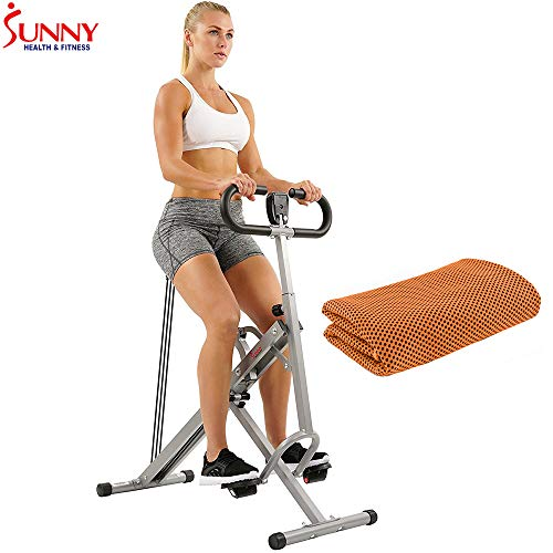 (Sunny Health and Fitness Upright Squat Assist Row-N-Ride Trainer for Squat Exercise and Glutes Workout with Workout Cooling Towel)