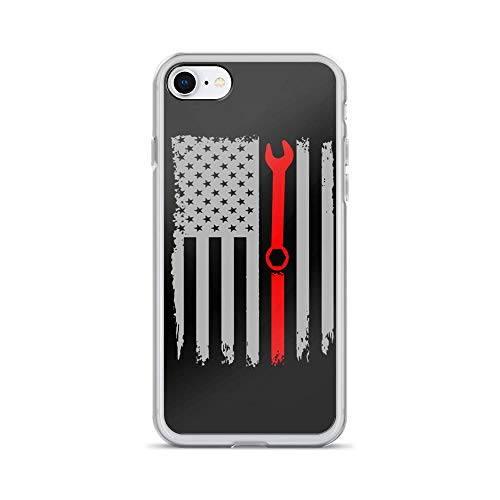 - iPhone 7/8 Pure Clear Case Cases Cover Mechanic Gear American Flag Patriotic