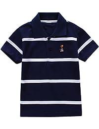 123971f4c88c3 Little Baby Kids T-Shirt Collar Boys Girls Short Sleeve Striped Polo T-Shirt