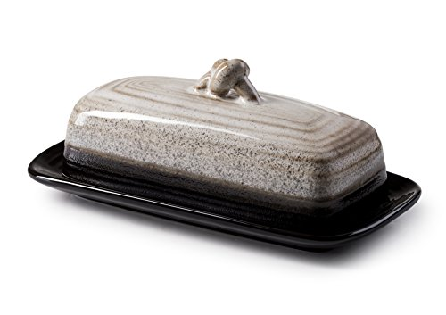 ROSCHER Ceramic Butter Dish w Handle (Midnight) Cover and Plate 2-Piece Combo Dark, Contemporary Kitchen Décor Decorative, Modern Design for Kitchen, Dining Room from Roscher