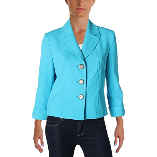 Tahari ASL Womens Petites Crepe Cuff Sleeves Three-Button Blazer Blue 0P
