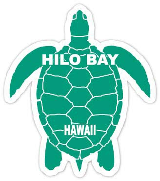 R and R Imports Hilo Bay Hawaii Souvenir 4 Inch Green Turtle Shape Decal Sticke