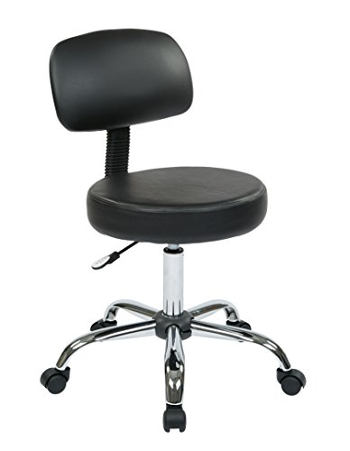 Office Star Thick Padded Vinyl Seat and Back Drafting Stool, Black