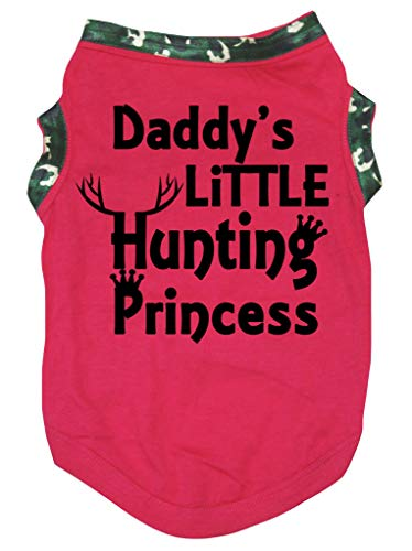 (Petitebella Daddy's Little Hunting Princess Hot Pink Shirt Puppy Dog Clothes (Pink, X-Large))
