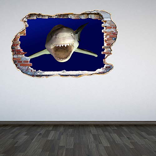 Full Colour Great White Shark Smashed Wall 3D Effect Under The Sea Aquarium Ocean Bedroom Wall Sticker Decal Kids Bedroo