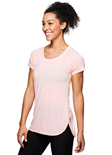 RBX Active Women's Back Detail Short Sleeve Workout T-Shirt S19 Light Orange M ()