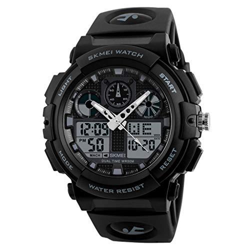 IslandseSKMEI Men LED Large Dial Digital Watch Waterproof Alarm Calendar Sport Watch (Silver)