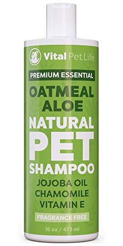 Dog Shampoo with Oatmeal, Aloe Vera, Chamomile, Jojoba Oil, Vitamin E - All Natural and Hypoallergenic, Helps Dry Coats & Itchy Sensitive Skin, No Parabens or Artificial Dyes, 16 oz