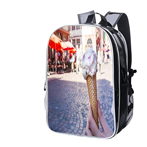 High-end Custom Laptop Backpack-Leisure Travel Backpack Holding Ice Cream Cone Eaten Dripping Summer Hot Day Dessert Sweet Water Resistant-Anti Theft - Durable -Ultralight- Classic-School-Black