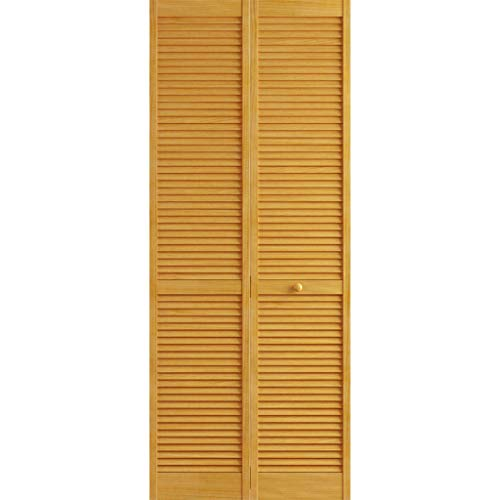 Kimberly Bay Traditional Louver Louver Golden Oak Solid Core Wood Bi-fold Door (80x36)