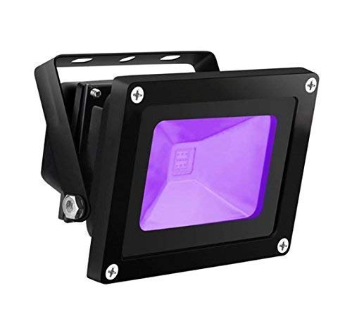 UV LED Black Light, HouLight High Power 10W Ultra Violet UV LED Flood Light IP65-Waterproof (85V-265V AC) for Blacklight Party Supplies, Neon Glow, Glow in The Dark, Fishing, Aquarium, -
