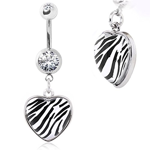 - Navel Ring with Zebra Print Rounded Heart Dangle 316L Surgical Steel