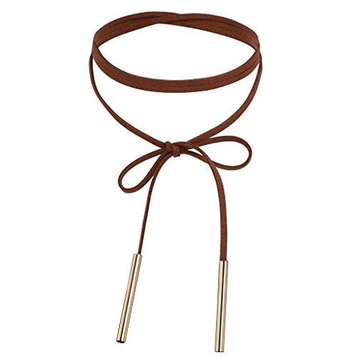 Daesar Stainless Steel Women's Velvet Circle Cord Two Bar Collar Gold Dark Brown Collar Necklace 136CM