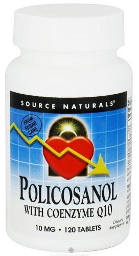 Source Naturals Policosanol with Coenzyme Q10, Supports Cardiovascular Health, 120 Tablets