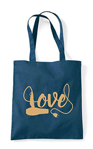 Bag Hairdryer Shopper Tote Hairdressing In Heart Love Petrol Statement BpRqY6w