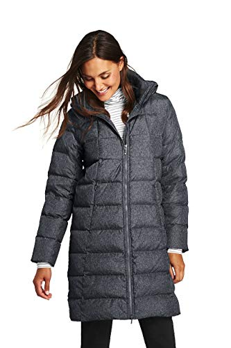 (Lands' End Women's Winter Long Down Coat, S, Dark Stone Heather)