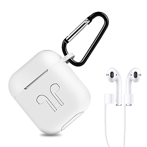AirPods Case Airpods Protective Silicone Cover With Anti-lost Silicone Airpods Strap for Apple Airpods Charging Shock proof Case (White)