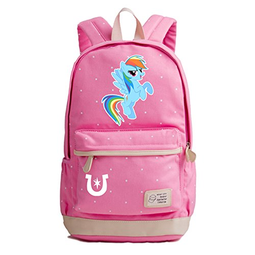 YOURNELO Cartoon My Little Pony Polka Dot Rucksack School Backpack Bookbag for Girls (Pink 4)