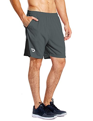 BALEAF Men's 7 Inches Athletic Running Shorts Quick Dry Mesh Liner Zip Pocket Gray Size M (Mens Running Shorts Zipper Pocket)