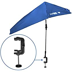 SolPro Clamp-On Shade Umbrella – 4 Way Clamp Umbrella with 360 Degree Swivel and Push Button Hinge. Great for Beach Chairs, Bleachers, Strollers, Wagons, Wheel Chairs or Golf Carts-Blue