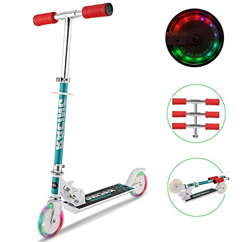 Tomasar Kid Scooters Foldable Mini Kick Scooter Aluminum Deluxe Light Up Wheels for Girls Boys, Ages 2-8 (US Stock) (White)