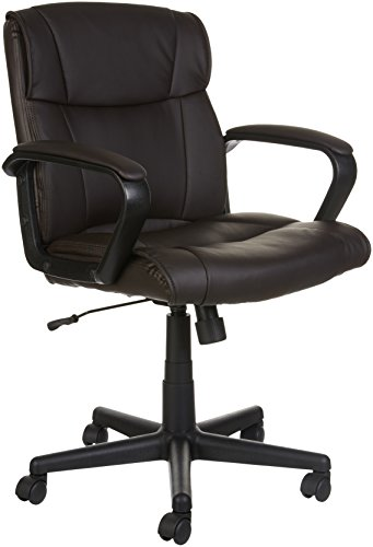 AmazonBasics Classic Leather-Padded Mid-Back Office Chair with Armrest - Brown