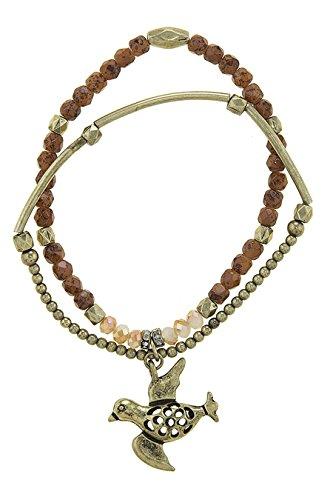 TRENDY FASHION JEWELRY BIRD CHARM ACCENT FAUX STONE BEADED STRETCH BRACELET SET BY FASHION DESTINATION   (Beaded Lampwork Jewelry Set)