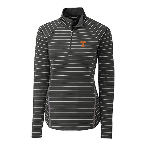 (Cutter & Buck NCAA Tennessee Volunteers Long Sleeve Pencil Stripe Evie Half Zip, Elemental Grey, XXL)