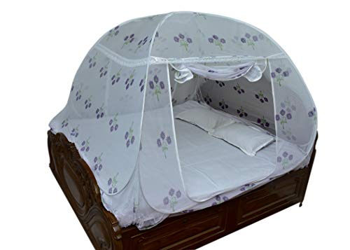 HOMELORE Polyester Adults Foldable, Flexible for Double Bed, King Size Bed, Queen Size Bed Printed Mosquito NET (White)