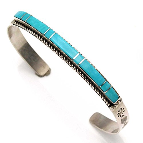 Navajo Turquoise Bracelet Jewelry - L7 Enterprises Turquoise Inlay Bracelet by Livingston