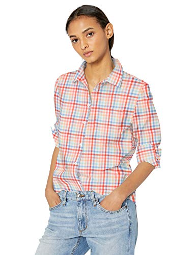 Amazon Essentials Women's Classic-Fit Long-Sleeve Poplin Patterned Shirt, Warm Multi Gingham, XL