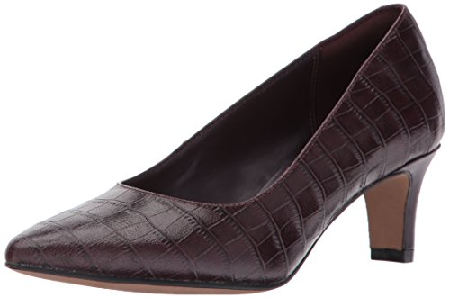 Clarks Women's Crewso Wick Dress Pump, Burgundy Crocodile, 11 M US - Crocodile Leather Shoes