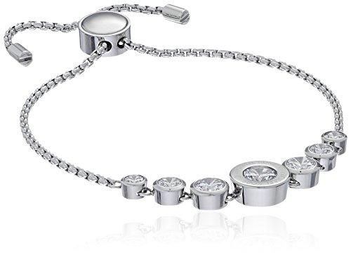 Michael Kors Logo Silver-Tone and Jet Set Crystal Slider Bangle Bracelet