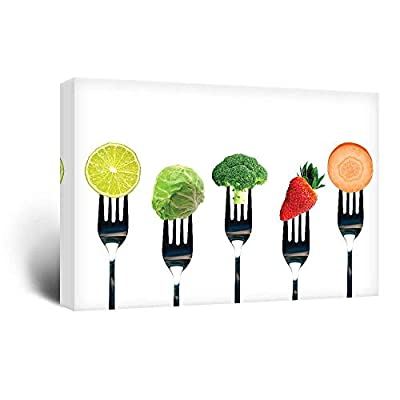 Canvas Wall Art - Fruits and Vegetables on Forks - Giclee Print Gallery Wrap Modern Home Art Ready to Hang - 24x36 inches