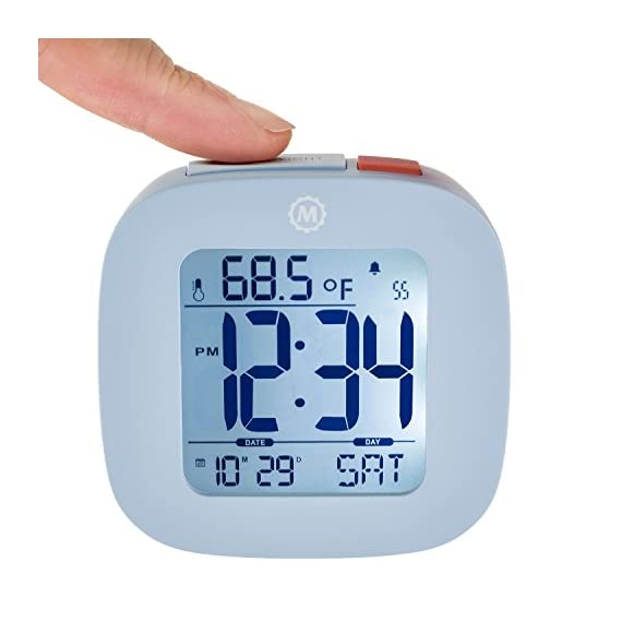 MARATHON CL030058BL Compact Alarm Clock with with Snooze, Light Feature, Temperature and Date - Blue - Batteries Included - EASY TO SET- Large and easily accessible primary buttons. Hold the top red alarm button for 3 seconds to activate and set the alarm time COMPACT- Compact and lightweight, measuring in at 3.1 x 1 x 3 in (L x W x H). LIGHT- Super illumination cool blue backlight. Button activated backlight is gentle on the eyes while providing maximum illumination. Display remains illuminated for approximately 5 seconds. - clocks, bedroom-decor, bedroom - 41iKx4IohrL. SS570  -
