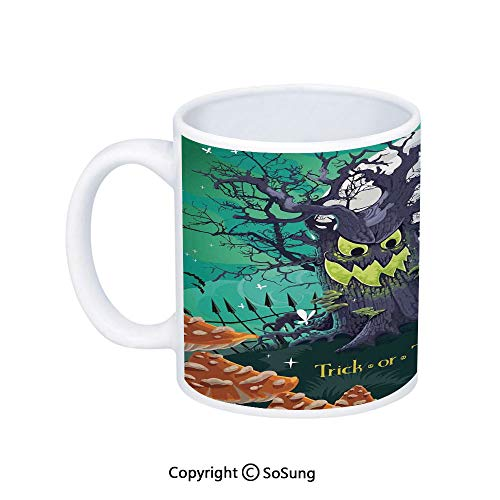 Halloween Decorations Coffee Mug,Trick or Treat Dead Forest with Spooky Tree Graves Big Kids Cartoon Art,Printed Ceramic Coffee Cup Water Tea Drinks Cup,Multi -