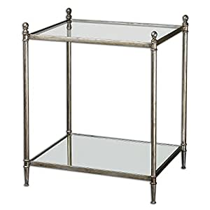 Gannon Mirrored Glass End Table Kitchen Dining