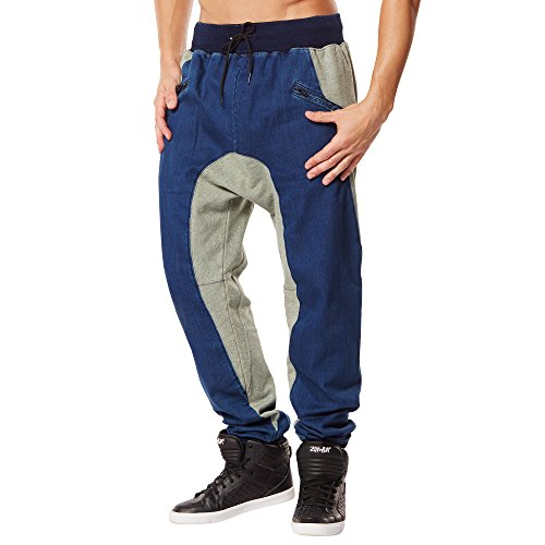 Zumba Men's Dynamic Duo Harem Dance Pants, Denim Daydream, X-Small