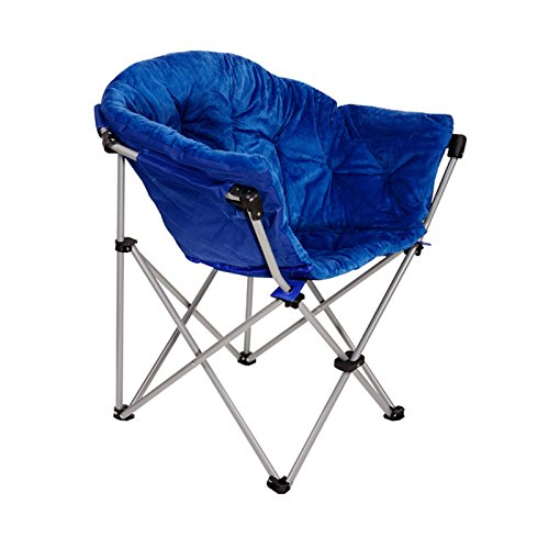 ECOLINEAR Folding Saucer Moon Chair Short Plush Faux Fur Padded Club Seat (Blue)