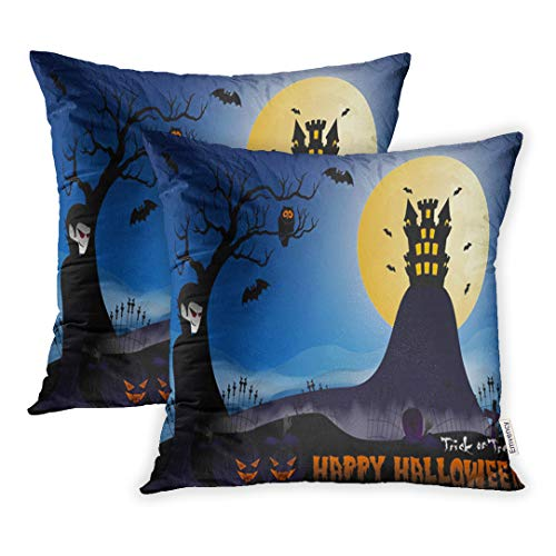 Emvency 16x16 Inch Decorative Set of 2 Throw Pillow Cover Blue Dracula Happy Halloween Vampire Pumpkin Bat Castle Tree and Cemetery Moon Home Cushion Sofa Two Sides Pillow -