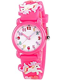 Venhoo Kids Watches 3D Cute Cartoon Waterproof Silicone Children Toddler Wrist Watch Birthday Gift for 3-10 Year Girls Little Child-Pink Unicorn