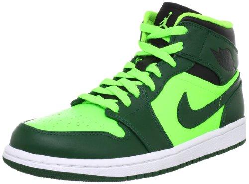 Nike Men's NIKE AIR JORDAN 1 MID BASKETBALL SHOES 8 Men US (GORGE GREEN/BLACK/ELCTRC GREEN)