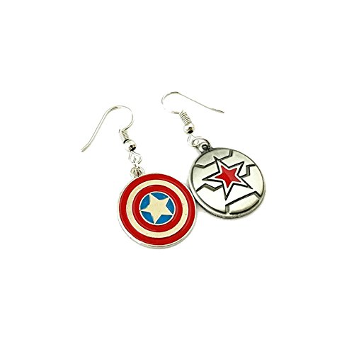 J&C Family Owned Marvel Winter Soldier, Captain America Dangle Charm Earrings Amazing Gift For Cosplay Events, Birthday, Christmas and Many Others! Comes With Free Gift Box! for $<!--$10.97-->